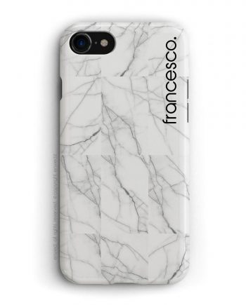 cover per iPhone in marmo bianco a mosaico con nome