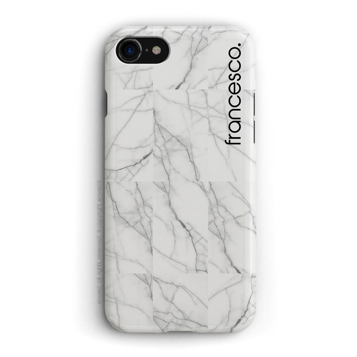cover per iPhone in marmo bianco a mosaico con nome