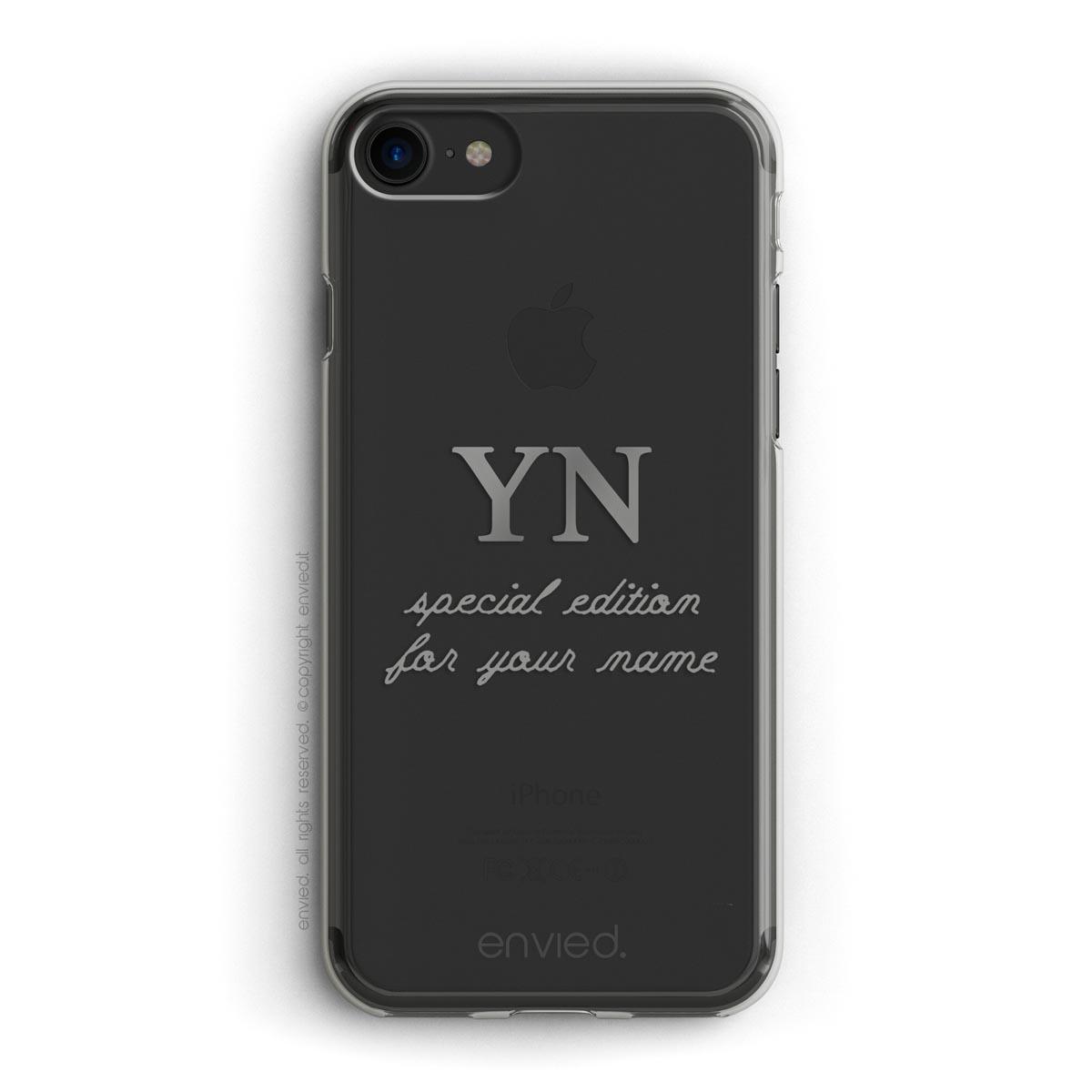 cover per iPhone con scritta special edition, nome e iniziali in argento