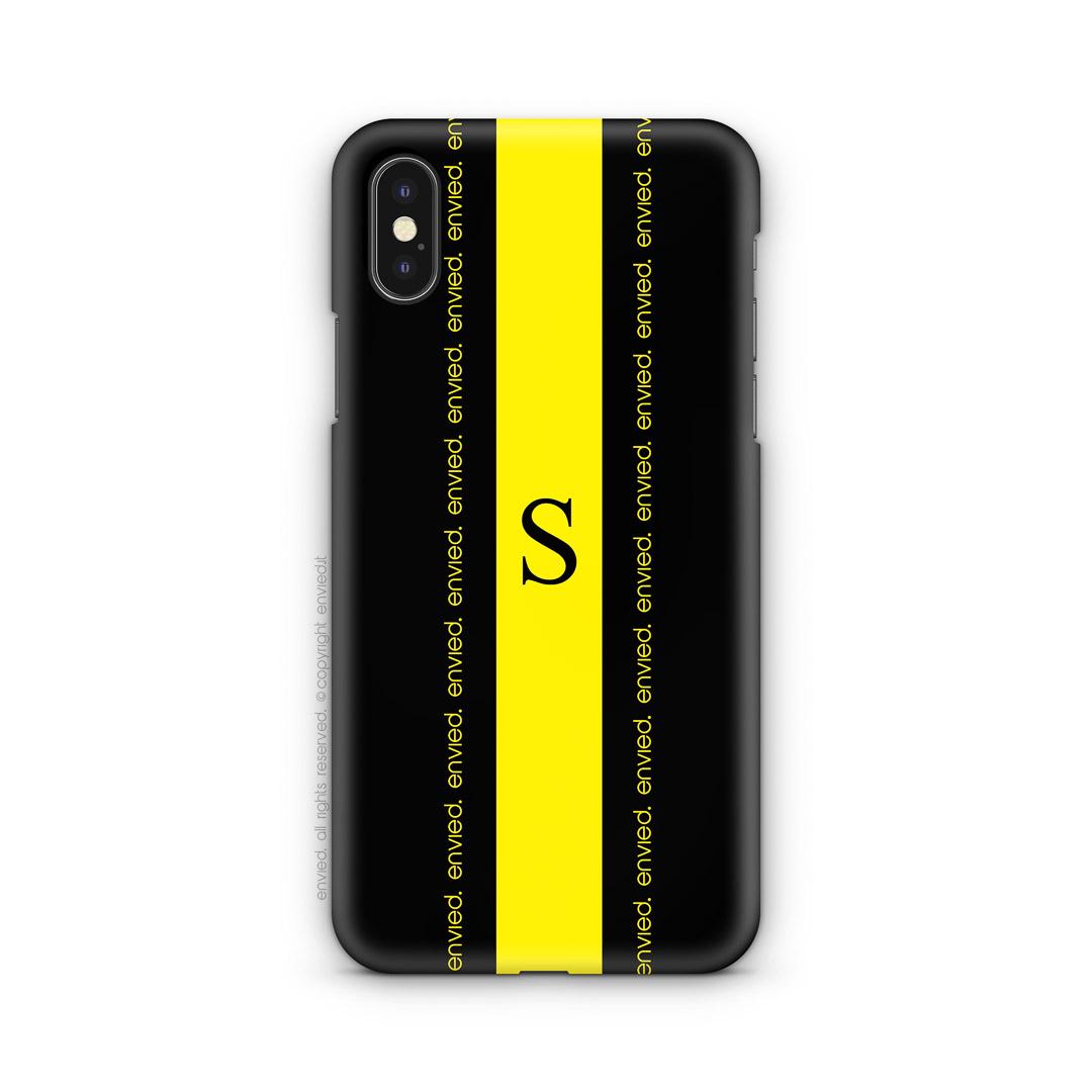 cover i phone iniziale linea nera e gialla