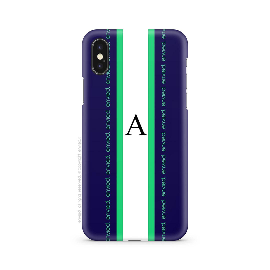 cover i phone iniziale linea blu bianco verde