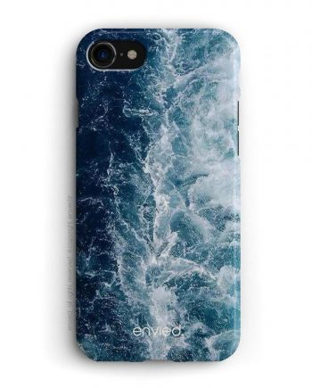 cover per iPhone con onde blu e bianche
